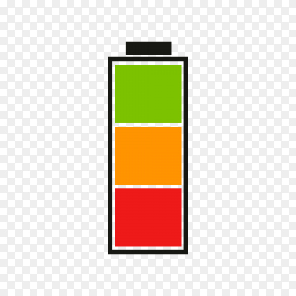 Battery charge indicator on transparent background PNG