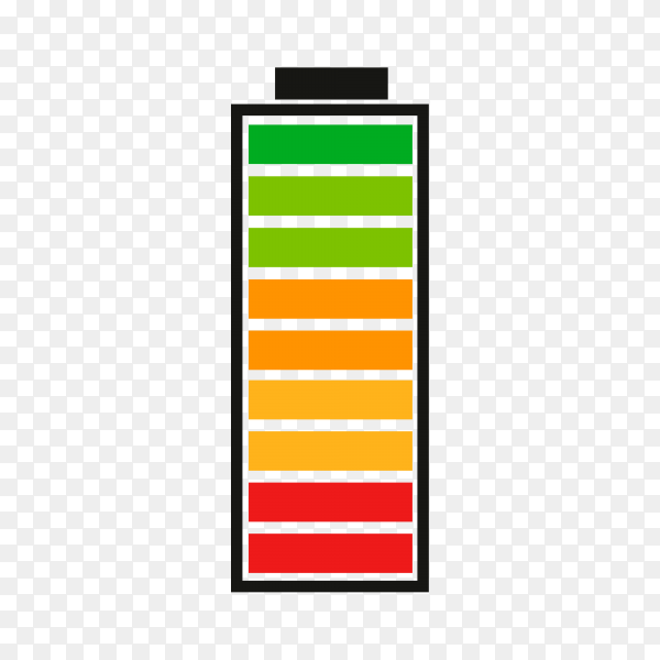 Battery charge indicator with high energy level isolated on transparent background PNG