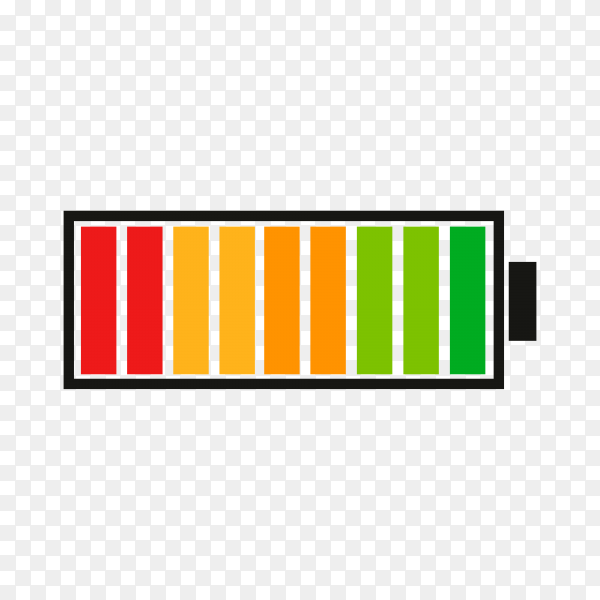 Battery charge indicator with high energy level on transparent background PNG