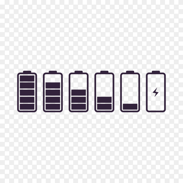 Battery indicator symbol different level of charge on transparent background PNG