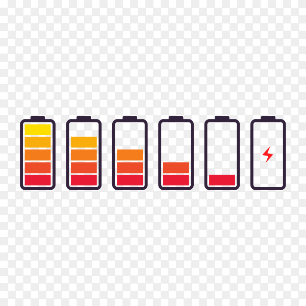 Battery with different level of charge premium vector PNG