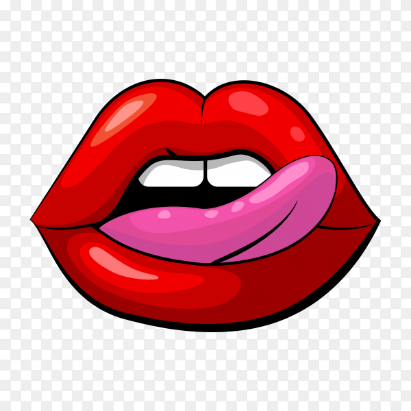 Beautiful female lips with tongue on transparent background PNG