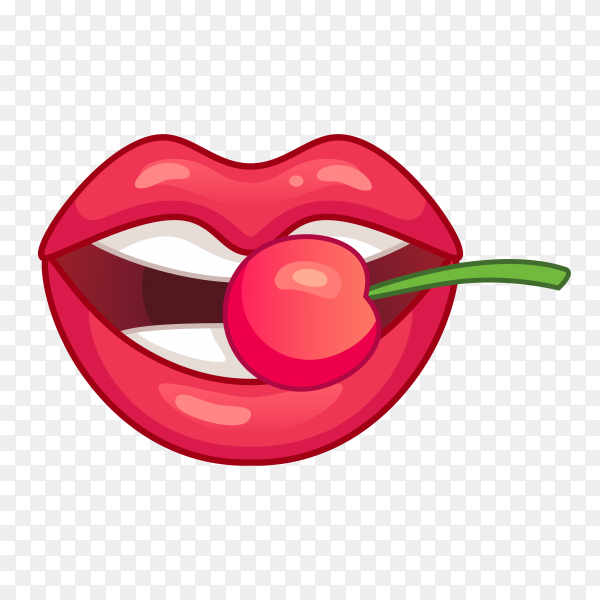 Beautiful lips smiling and biting cherry on transparent background PNG