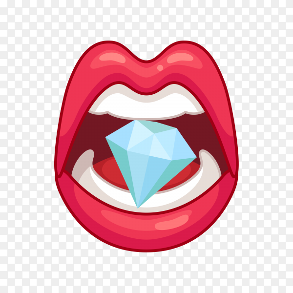 Beautiful lips smiling with jewelry on transparent background PNG