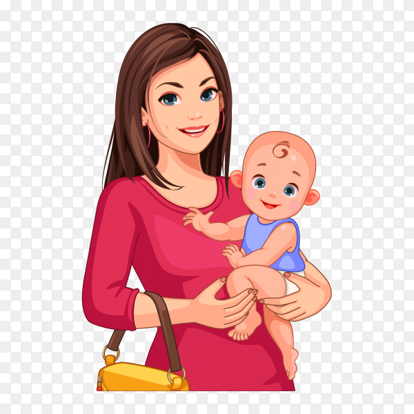 Beautiful young mother and baby on transparent background PNG