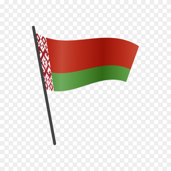 Belarus flag waving on a flagpole on transparent background PNG