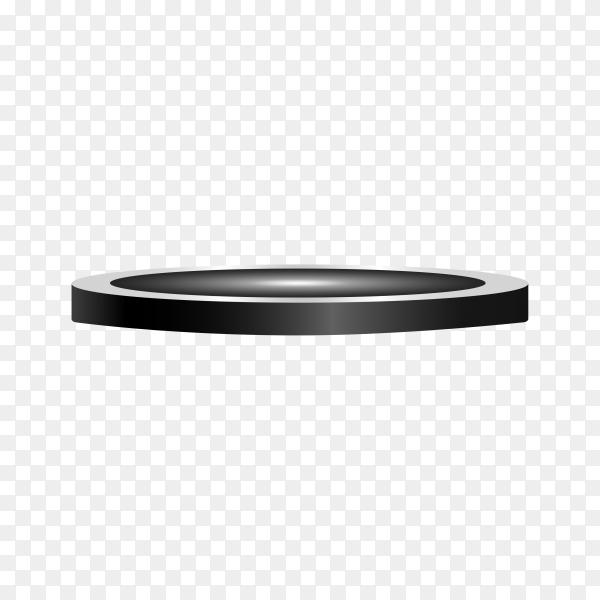 Black Round podium, pedestal or platform on transparent background PNG