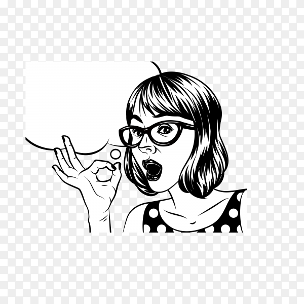 Black and white illustration in comic art style of pretty woman with surprised face. a woman with glasses holds a hand and showing OK sign on transparent background PNG