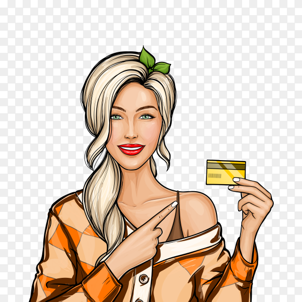Blonde girl holding plastic credit card in hand in pop art style on transparent background PNG