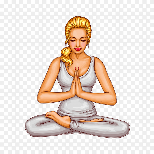 Blonde girl sitting with closed eyes in a lotus position on transparent background PNG