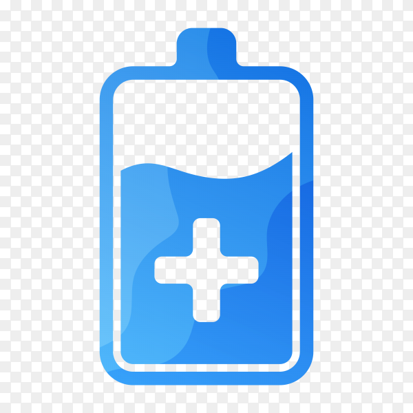 Blue battery logo template on transparent background PNG