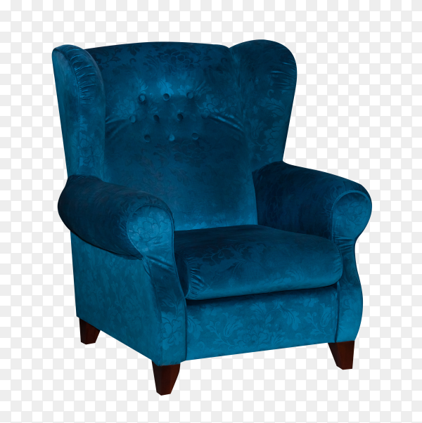 Blue textile chair isolated on transparent background PNG