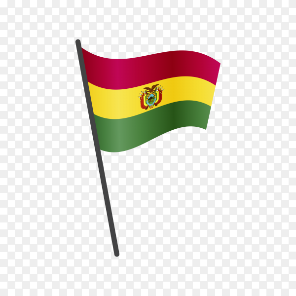 Bolivia flag waving on a flagpole on transparent background PNG