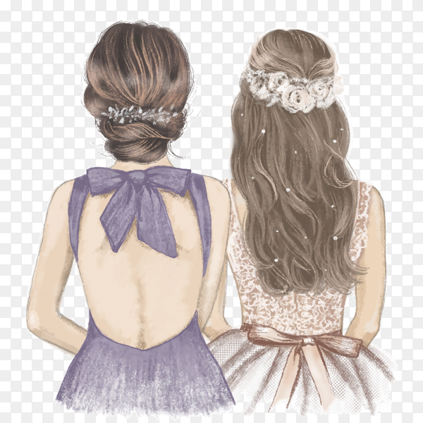 Bride and bridesmaid, illustration hand drawn with crayon pencils on transparent background PNG