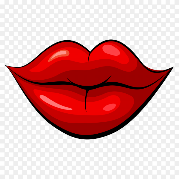Brightly painted lips of a woman on transparent background PNG