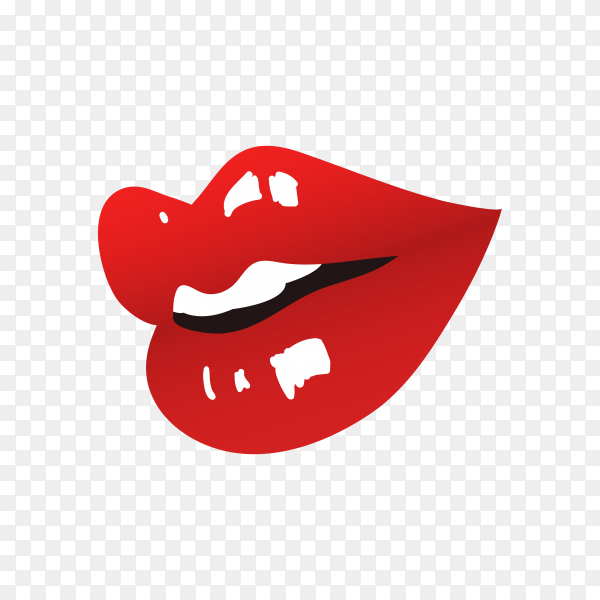 Brightly painted lips of a woman premium vector PNG
