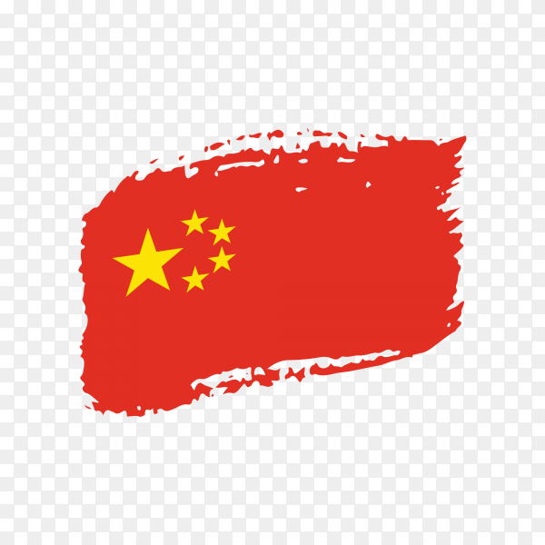 Brush stroke China flag on transparent background PNG