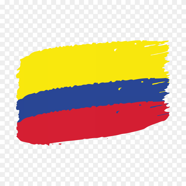 Brush stroke Colombia flag on transparent background PNG