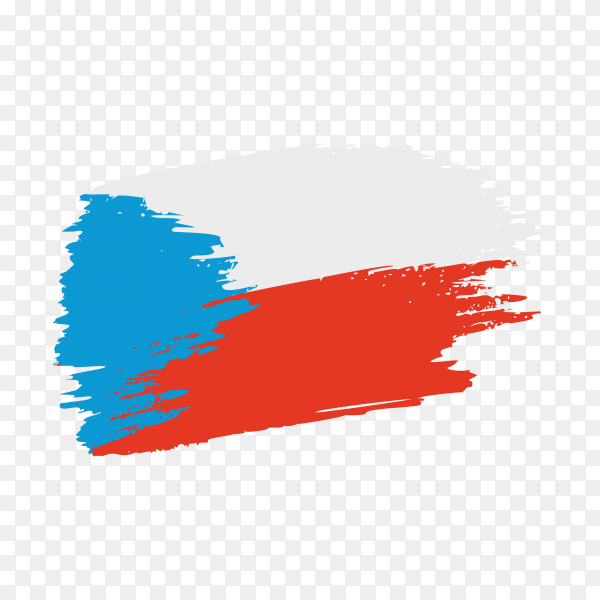 Brush stroke Czech flag on transparent background PNG