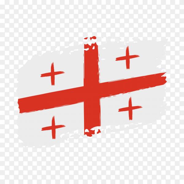 Brush stroke Georgia flag on transparent background PNG