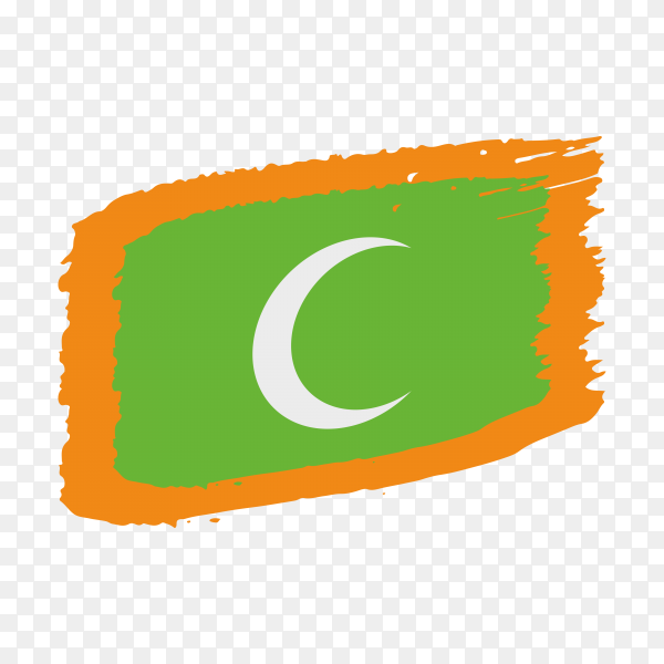 Brush stroke Maldives flag on transparent background PNG