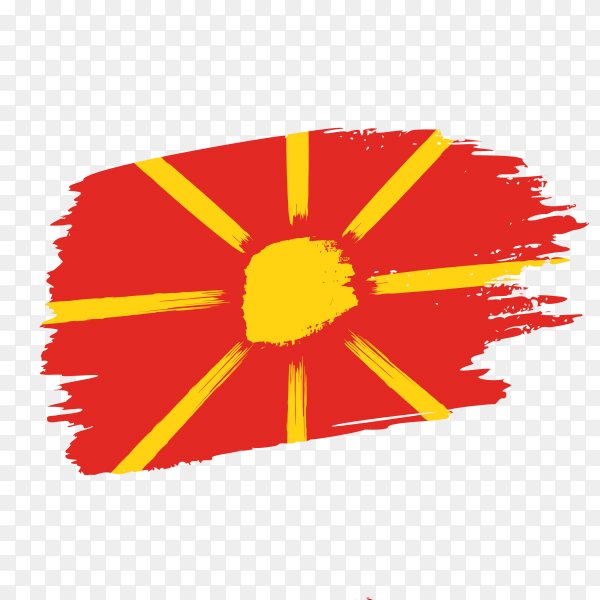 Brush stroke North Macedonia flag on transparent background PNG