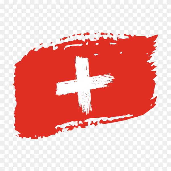 Brush stroke Switzerland flag on transparent background PNG
