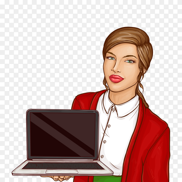 Businesswoman holding laptop computer with blank screen on transparent background PNG