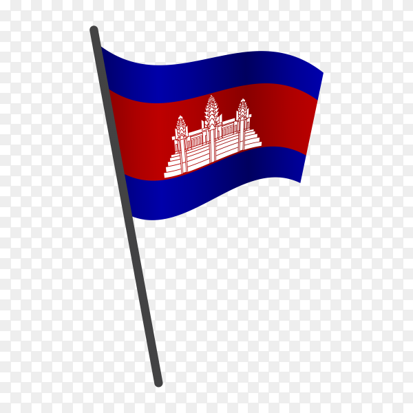Cambodia flag waving on a flagpole on transparent background PNG