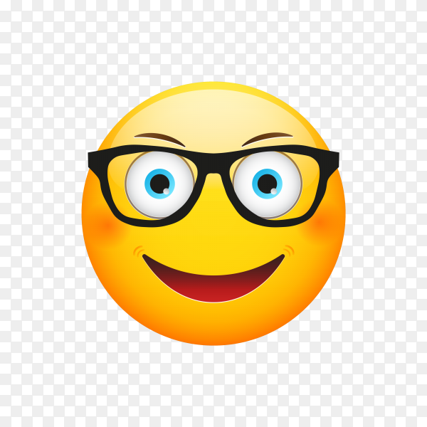 Cartoon Emoji face with Sunglasses on transparent background PNG
