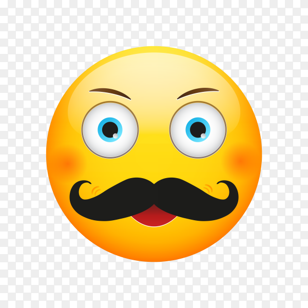 Cartoon Emoji face with mustache on transparent background PNG
