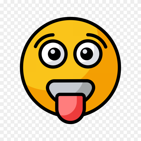 Cartoon Emoji face with tongue on transparent background PNG