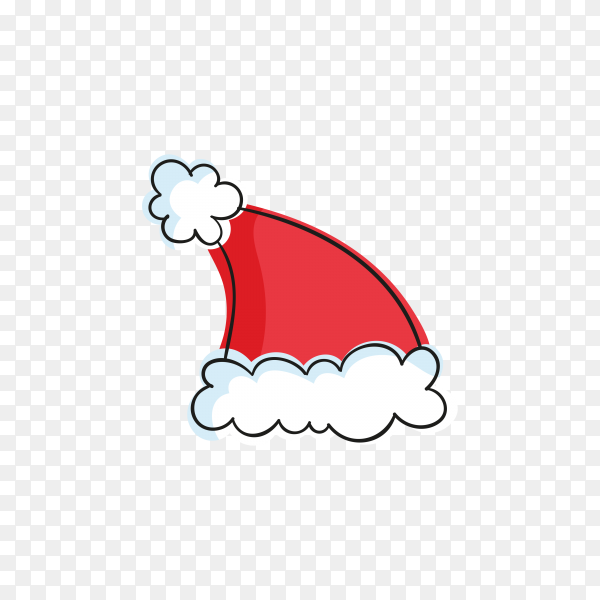 Cartoon Santa Claus hat illustration on transparent background PNG