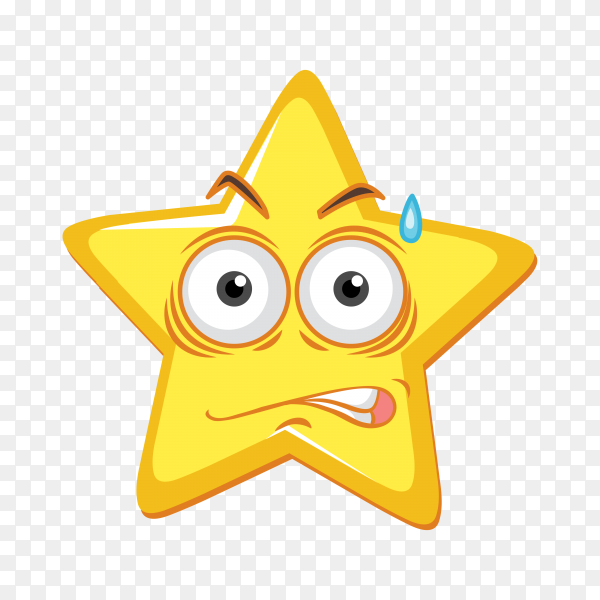 Cartoon cute star emoticon on transparent background PNG