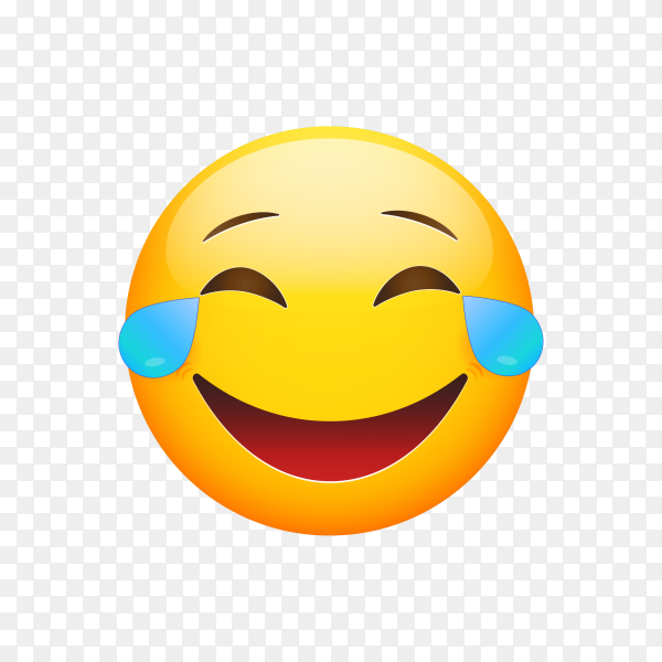 Cartoon emoji yellow face lol laugh and crying tear icon on transparent background PNG