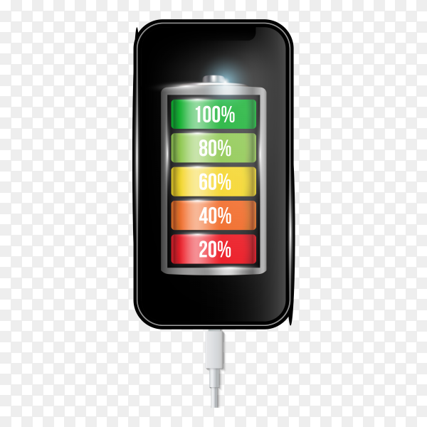 Charged battery phone cell phone and usb plugs cable on transparent background PNG