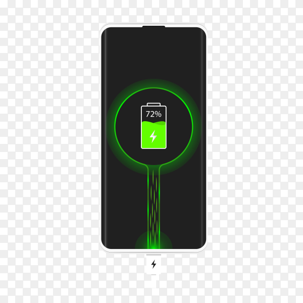 Charging phone illustration on transparent background PNG