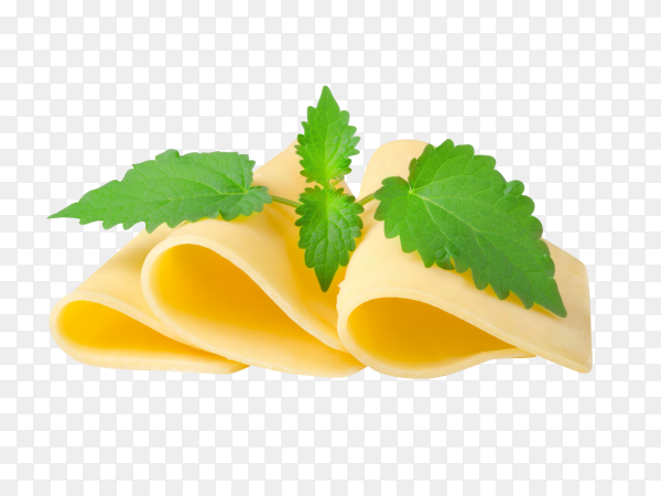 Cheese and mint on transparent background PNG