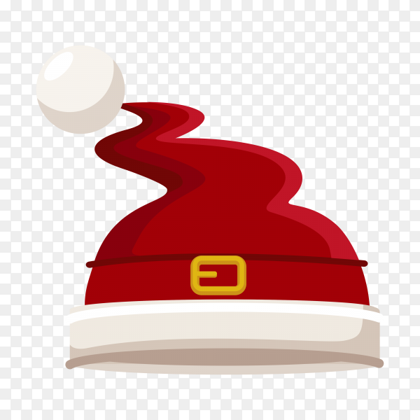 Christmas illustration with red santa hat isolated on transparent background PNG