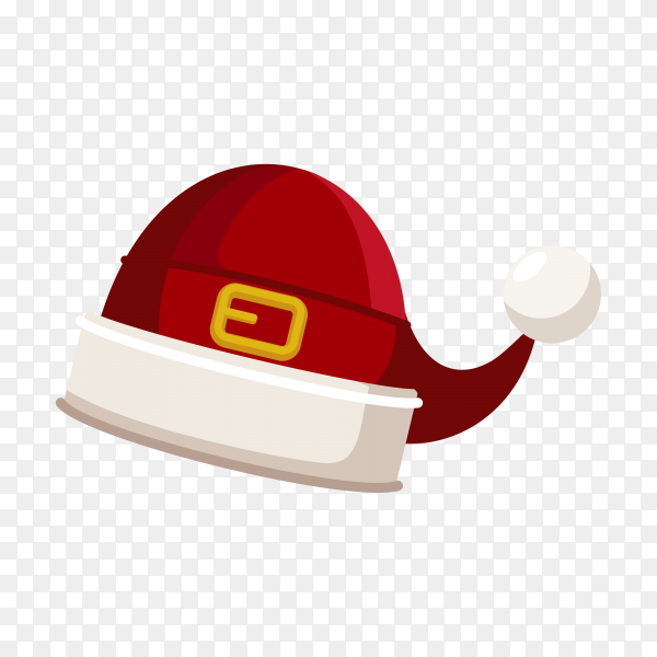 Christmas illustration with red Santa hat on transparent background PNG