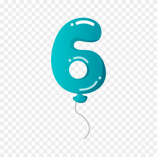 Colorful Balloon in the shape of number Six on transparent background PNG