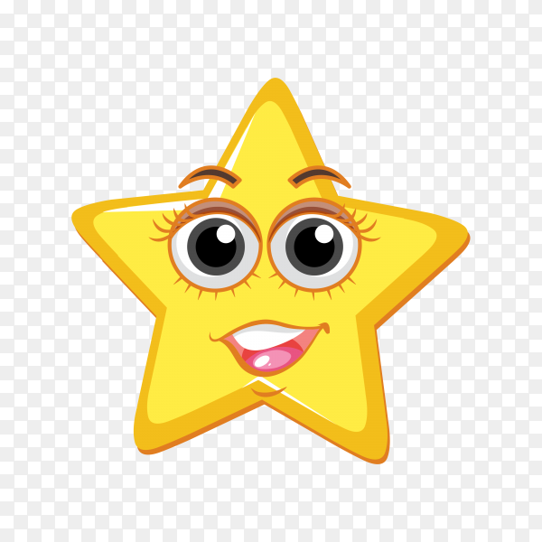 Cute star emoji isolated on transparent background PNG