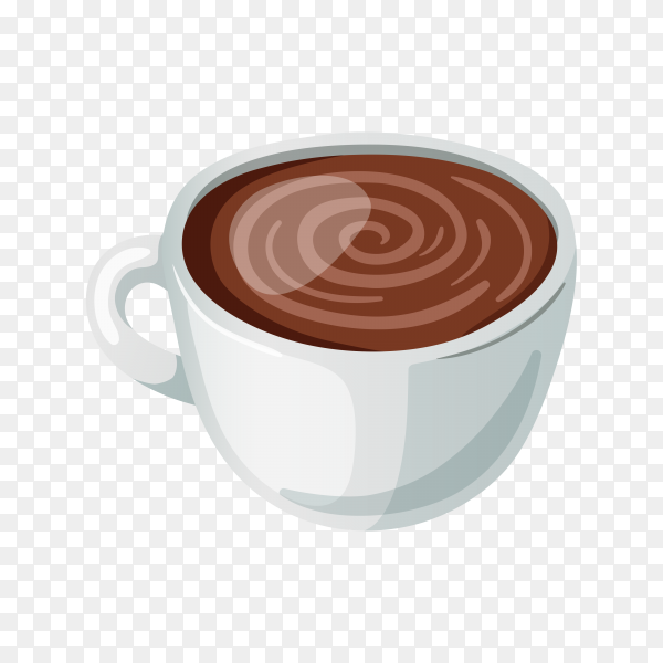 Delicious Hot chocolate in cup on transparent background PNG