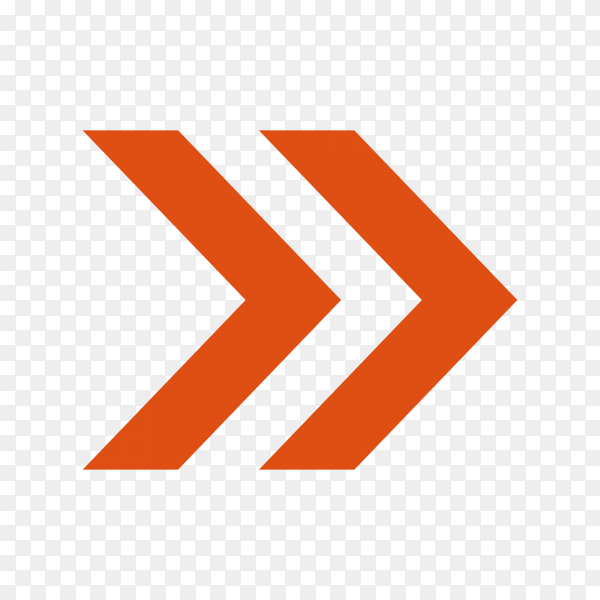 Directional arrow pointer on transparent PNG