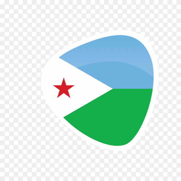 Djibouti flag icon on transparent background PNG