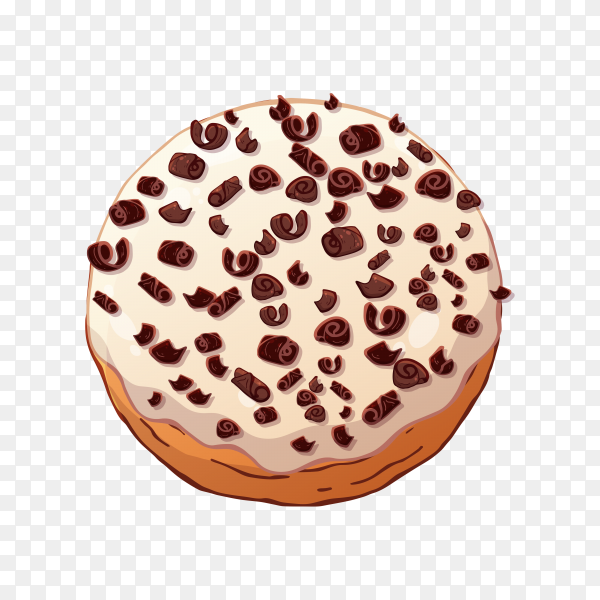 Donut with white chocolate topping on transparent background PNG