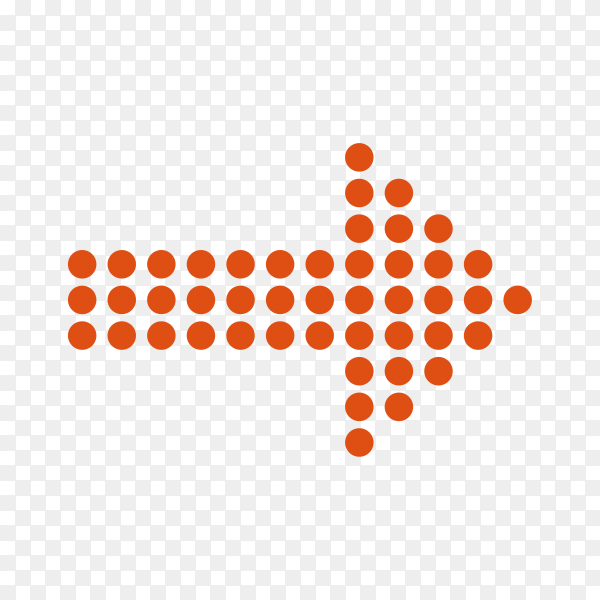 Dotted halftone arrow in red color on transparent background PNG