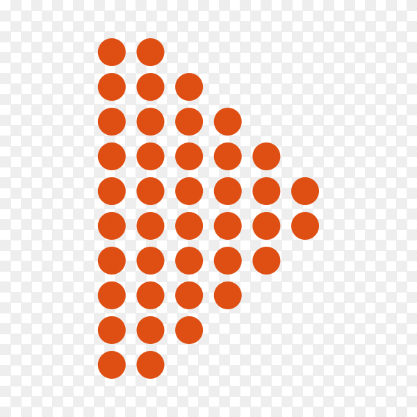 Dotted halftone arrow on transparent PNG