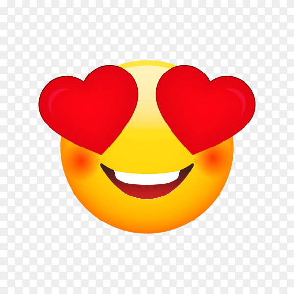 Emoji face in love on transparent PNG