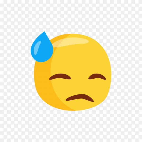 Emoticon sad expression on transparent background PNG